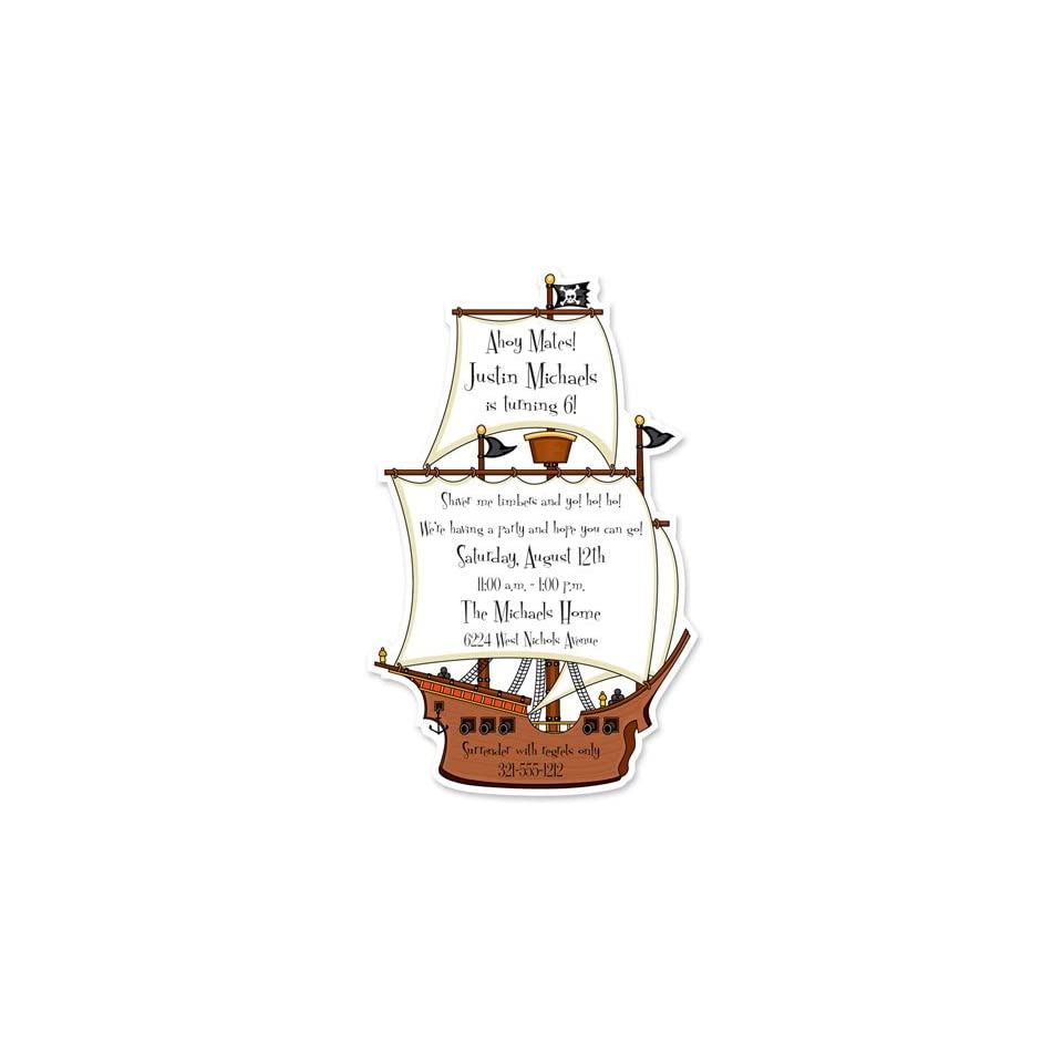 Childrens Birthday Party Invitations   Pirate Ship Birthday Party Invitation