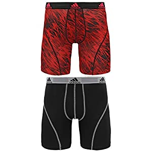 adidas Men's Athletic Stretch Brief Underwear (3 Pack), Real Red Draven/Black/Grey, Large/Waist Size 36-38