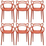 2xhome - Set of 6 Red eating out place Chairs - modern-day up to date Designer designed Popular household business succeed Indoor Outdoor Armchair residing friends and family place Kitchen Bed Bedroom Porch terrace Balcony activate seats Swimming Pool Backyard Back Yard In Out Door chair Vogue Trendy In design Stylistic Artistic Art tasteful Stackable Stacking Stack - (Red)