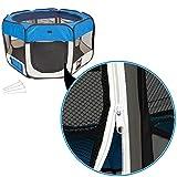 TecTake Welpenlaufstall Tierlaufstall blau für Kleintiere wie Hunde, Hasen, Katzen blau -