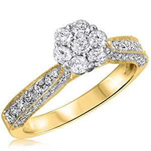 7/8 CT. T.W. Diamond Ladies Engagement Ring 10K Yellow Gold- Size 7.5