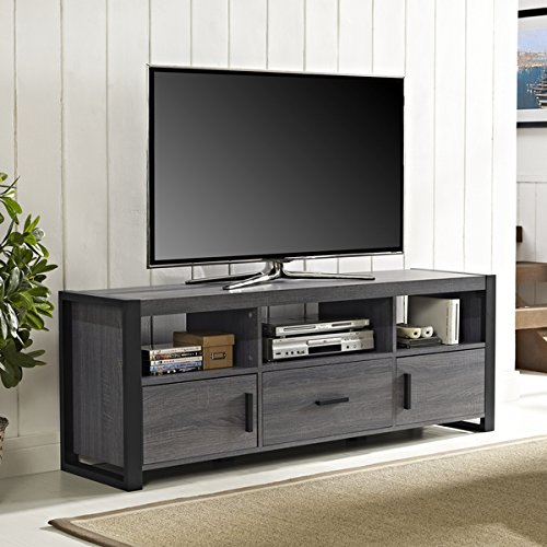 60-Inch Charcoal TV Stand Console (OS60CGS1CL). Features A Large Drawer, Two Side Cabinets And An Open Shelving System Finished In Powder Coated. Designed For TVs Up To 65 Inches Wide. - Black, Grey. (Long Tv Unit compare prices)