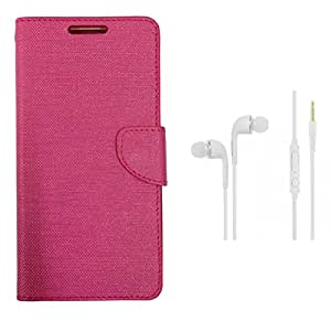 CellRize Flip Cover For Lenovo A6600 Plus With White Headphones-Pink