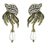New age design White stone and gold earrings