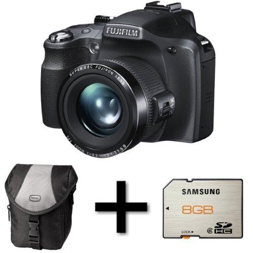 Fujifilm FinePix SL240 Black + Case and 8GB Memory Card (14MP, 24x Optical Zoom) 3 inch LCD Screen