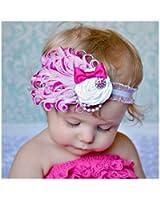 HuaYang 2013 nouveau designs romantique fleur de plume bandeau pour les filles bébé(Rose)