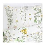 IKEA STRANDKRYPA 掛け布団カバー&枕カバー フローラルパターン ホワイト シングルサイズ 40282936
