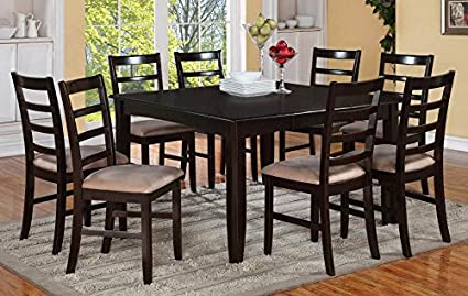 9-Pc Dining Table and Counter Stool Set in Cappuccino Finish