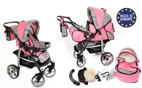 2-in-1 Travel System incl. Baby Pram with 360° Swivel Wheels, Pushchair & Accessories, Pink & Leopard