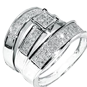 White gold trio wedding set mens womens wedding rings for Men and women matching wedding rings