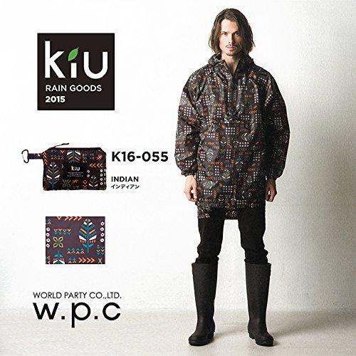 【男女兼用】 レインプルオーバー カラビナ付き収納袋入 インディアン 着丈96cm (フリーサイズ) K16-055