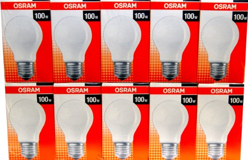 10 x osram gl hbirne 100w e27 matt 100 watt gl hlampe gl hbirnen gl hlampen von osram. Black Bedroom Furniture Sets. Home Design Ideas