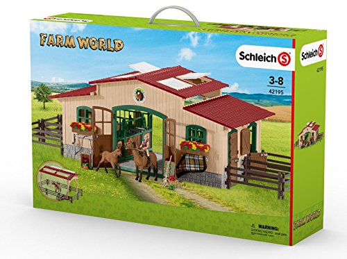 Schleich North America Schleich Stable with Horses & Accessories Toy (Trailer Horse Accessory compare prices)