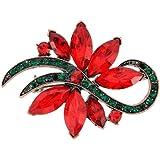 Christmas Poinsettia Flower Pin Brooch