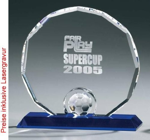 Soccer Circle Award, Kristall Glas - Trophäe, Höhe:200 mm