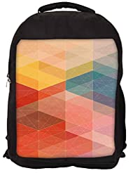 Snoogg Design Circular Mix Backpack Rucksack School Travel Unisex Casual Canvas Bag Bookbag Satchel - B0146G35YQ