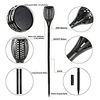 Solar Torch Lights,Balight Dancing Flame Lighting 96 LED Flickering Tiki Torches Waterproof Wireless Outdoor Light for Patio Garden Path Yard Wedding Party (Black - 1 Piece)