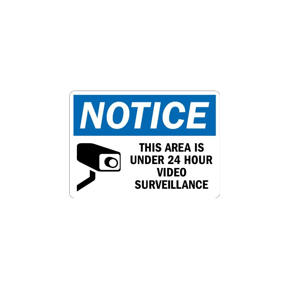 SmartSign 3M Engineer Grade Reflective Sign, Legend Notice Area is Under 24 Hour Video Surveillance with Graphic, 7 high x 10 wide, Black/Blue on White