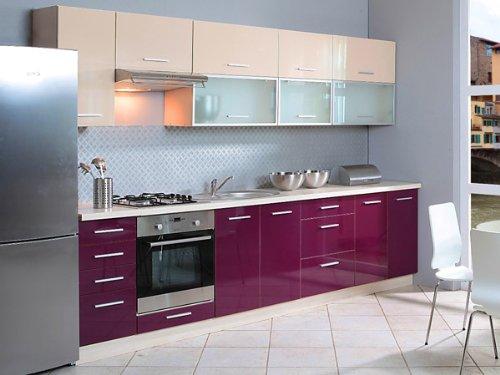 Küchenzeile 1623 Küchenblock jersey / violett + vanille Hochglanz 300cm