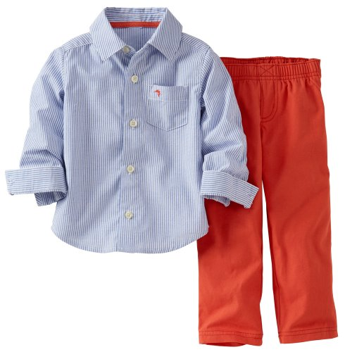 Carter'S 2-Piece Button Down Blue & White Striped Shirt & Coral Pants Set (6 Months) front-1079545