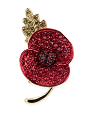 M&S Collection Small Pave Diamanté Poppy Brooch