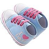 waylongplus Lienzo infantil Prewalker suave Suela antideslizante zapatos de cuna I Love Mum Dad Impresión Slip-On Zapatillas azul Light Blue Dad Talla:13 (12-18 Months)