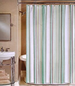 Peri Henley Stripe Cotton Fabric Shower Curtain Green Blue Brown 72 X 72