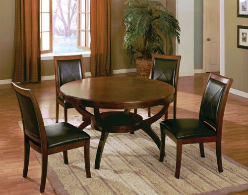 Wooden Round Dining Table in Walnut Finish ADS90126