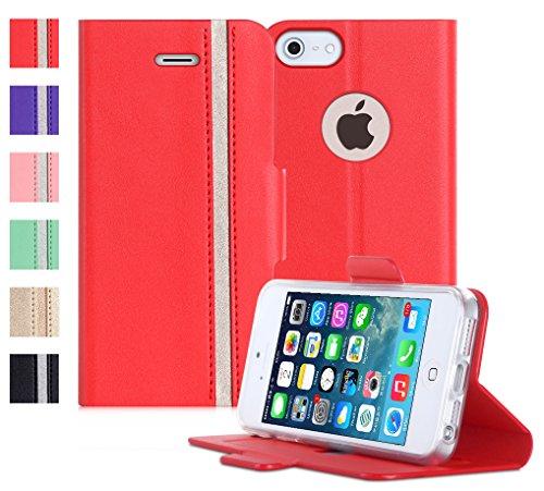 iPhone6s ケース iPhone6ケース,Fyy 100%手作り 高級PUレザー ケース 手帳型 スマホケース スマホカバー 横開き 財布型 カバー カードポケット スタンド機能 マグネット式 スマートフォンケース レッド