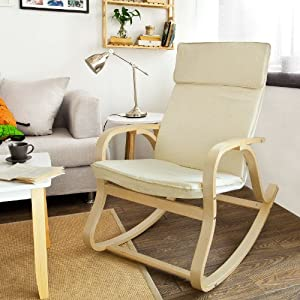 SoBuy Comfortable Relax Rocking Chair Lounge Chair With Cotton Fabric Cushio