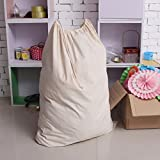 Ohuhu Natural Cotton Laundry Bag - Household Essential - Extra Large - 90*70cm