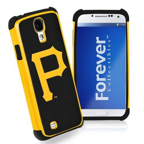 Forever Collectibles MLB Dual Hybrid Galaxy S4 Rugged Case - Retail Packaging - Pittsburgh Pirates