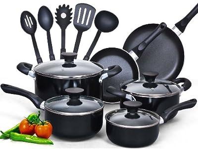 Food Network Cookware Set Premium Nonstick Coating 15 Piece, Black, Glass Lid