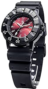 Sports Watch by Smith & Wesson - Swiss Tritium Wristwatch with Day of Month, Red Face and Black Rubber Strap