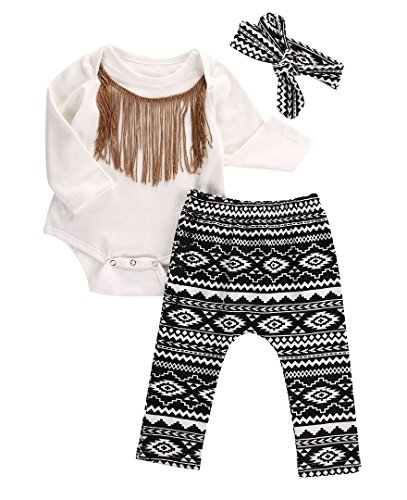 3pcs Newborn Infant Baby Girls Tassels Romper+Pants+Headband Legging Outfits Set (6-12 Months, White&Black)