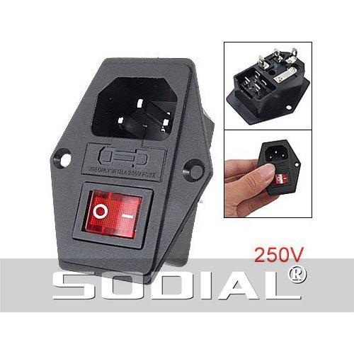 sodial r 3 pin iec320 c14 inlet module plug fuse switch male power rh sites google com