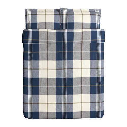 Ikea Kustruta Duvet Cover and Pillowcase, Blue Check, Full/Queen (Double/Queen) (Ikea Sheets Queen compare prices)