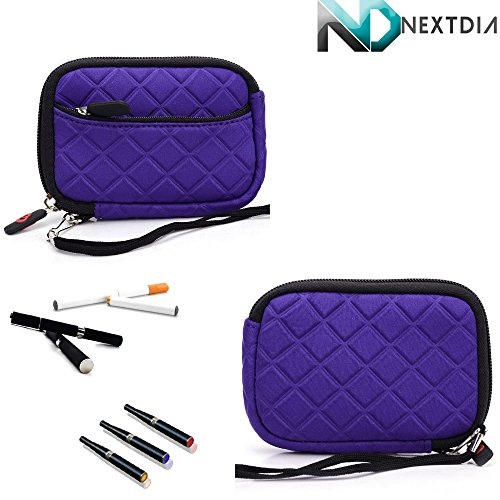 Thin Portable Padded Vape Case Suitable For Fantasia E-Hookah Pen [Purple Monster] Includes Removable Hand Strap + Nextdia Cable Tie