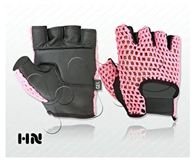 Gel Padded Leather Gym Gloves (black 055) Pink Mesh Fitness Cycling Weight Lifting All Sports Wheelchair from Kango Fitness