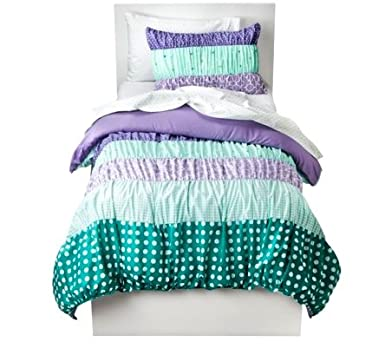 Cute Girls Ruched Polka Dot Full Comforter Set Piece Set Teal Purple Striped