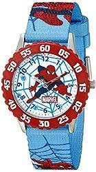 Marvel Kids' W001242 Spider-Man Red Stainless Steel Bezel Watch with Blue Strap