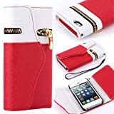 Travel Wristlet Wallet Clutch Bag Pouch Case Cover for Apple iPhone 5 5th Generation 5G (AT&T, T-Mobile, Sprint, Verizon) (White/Red) with Screen Protector