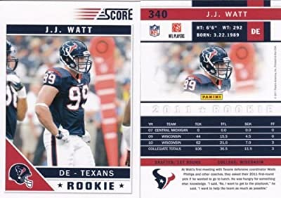 2011 Score Football Card # 340 J.J. Watt RC - Houston Texans (RC - Rookie Card) NFL Trading Card In a Protective Screwdown Case!