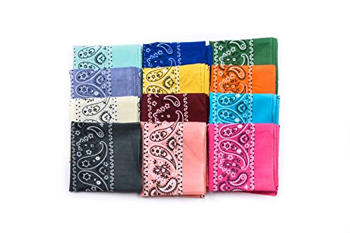 Original Elephant Brand Bandanas 100% cotton since 1898 - 12 Pack (Assorted Fashion) Womens Kerchief