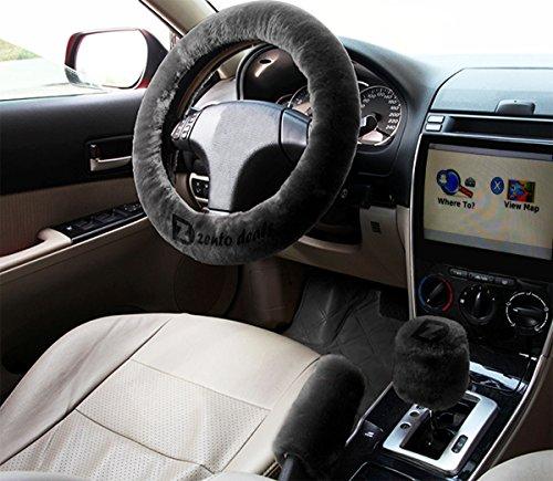 Zento Deals Non-slip Car Steering Wheel Handbrake Gear Shift Plush Cover - Black (Honda Stickers Fourwheeler compare prices)