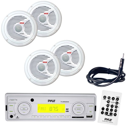 "Pyle Marine Radio Receiver, Speaker And Cable Package - Plmr89Ww Am/Fm-Mpx In-Dash Marine Mp3 Player/Weatherband/Usb & Sd, Mmc Memory Card Function - 2X Plmr60W 2 Pairs Of 150 Watt 6.5'' 2 Way White Marine Waterproof Speakers - Plmrnt1 22"" Weather Resista"