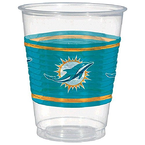 Amscan NFL Miami Dolphins Party Reusable Cups (25 Piece), Clear, 12.4 x 3.8