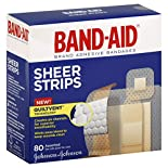 Band Aid Adhesive Bandages, Sheer Strips, Assorted, 80 bandages