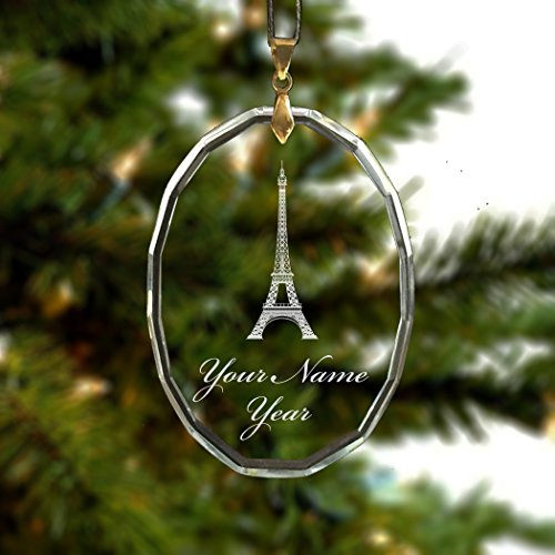 Personalized Oval Crystal Christmas Ornament - Eiffel Tower - Engraved for Free (Crystal Eiffel Tower compare prices)