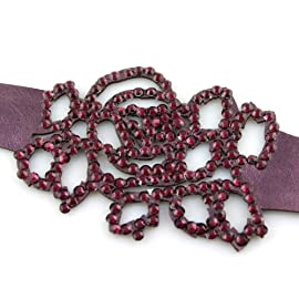 Violet Plum Rose Crystal On Faux Suede Band Bracelet With Button Clasp